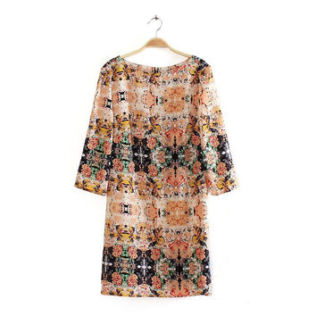 Winter Vintage Print Corset Long Sleeve Dress Skirt One Piece Dress [6343274049]