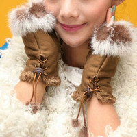 New Rabbit Fur Leather Lady Fingerless Suede Mittens Women Winter Wrist Gloves = 1932642948