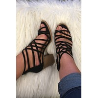 Strapped Up Heel- Black