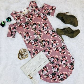 Falling for Florals Cold Shoulder Dress: Rose