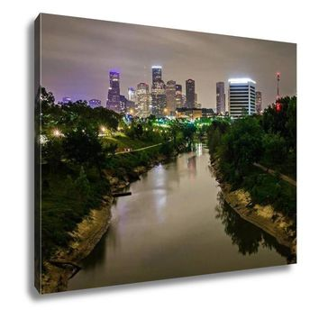 Gallery Wrapped Canvas, Houston Texas Skyline And Downtown