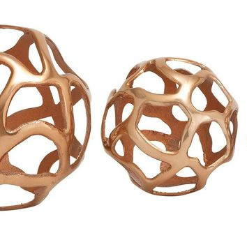 Benzara Lustrous Aluminum decorative Ball Set Of 3