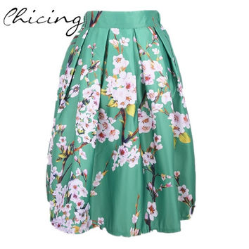 Women Vintage Floral Printed Pleated Midi Skirts One Size W148012 = 1945784132