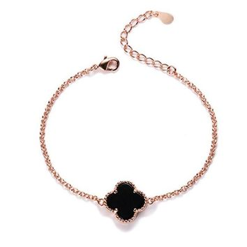 Lucky Four Leaf Clover Bracelet Charm Micro Pave Crystal Link Chain Bracelets For Women Girl Original Jewelry Gifts Y2