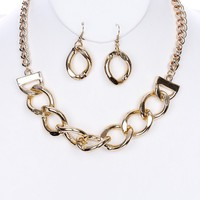 """12"""" gold choker collar thick chain link bib pendant necklace 1"""" earrings"""