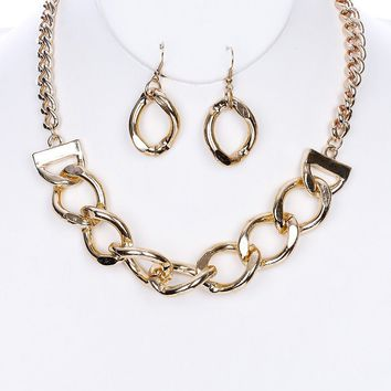 "12"" gold choker collar thick chain link bib pendant necklace 1"" earrings"