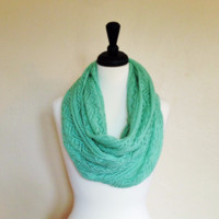 Open weave mint scarf by KnitPopShop