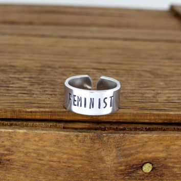 Feminist Ring - Equality - Aluminum Adjustable Cuff Ring
