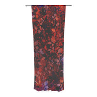 "Ebi Emporium ""Amongst the Flowers - Summer Nights"" Red Black Decorative Sheer Curtain"
