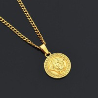 ONETOW Boys & Men Versace Chain Medusa Alloy Necklace