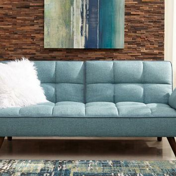 Cheyenne collection turquoise blue woven fabric upholstered sofa futon bed with tufted backs