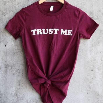distracted - trust me women's favorite cotton tee - maroon