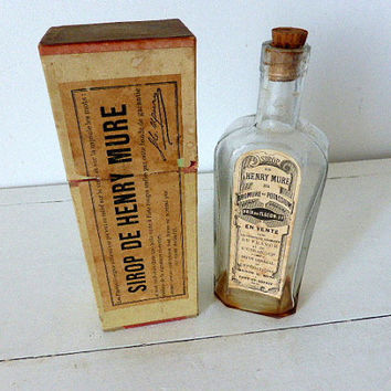 Rare Antique French Pharmacy Bottle And Box