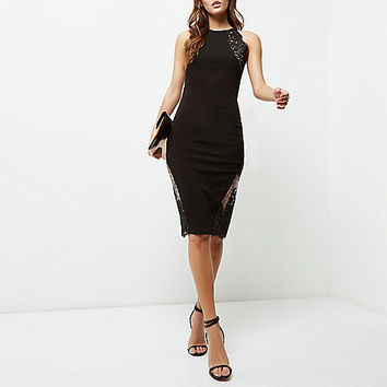 Black lace insert bodycon midi dress - bodycon dresses - dresses - women