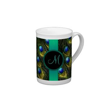 Fantasy Glowing Sparkly Peacock Feathers Monogram Tea Cup