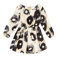 Black & Cream Abstract Peasant Dress - Kids