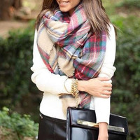 fashion Women Blanket Oversized Tartan Scarf Wrap Shawl lady girls Plaid Cozy warm Checked Pashmina (Color: Multicolor) [8400904647]
