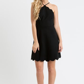 Angeline Black Scallop Dress by LUSH