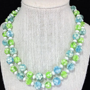 Lucite Blue Green Beads Necklace Transparent Chartreuse Encased White Tabs, Multi Strand Jewelry, Mid Century Beaded Costume Jewellery 318