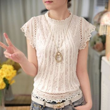 Autumn Summer Style Shirts Women Blouses Short Sleeve Floral Lace Crochet Tops Women Chiffon White Blouse Shirt