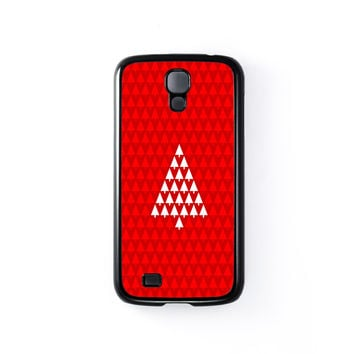 White Xmas Tree on Red Pattern Black Hard Plastic Case for Samsung Galaxy S4 by UltraCases