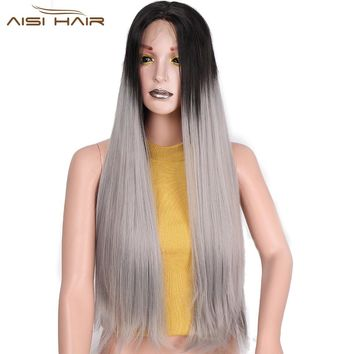 I's a wig 26 inch  Ombre Grey Wig and Brown Straight Synthetic Front Lace Wigs for Women Black head  Baby and Braided Hair