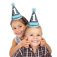 1st Birthday Boy - Fun to be One - Cone Birthday Party Hats - 8 Count
