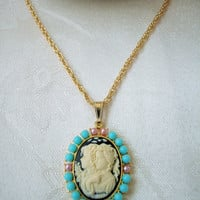 Gold Cameo Necklace, Two Sisters Cameo, Turquoise Beads, Hamilton Gold Plated Rope Chain 18 Inches Long