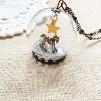 Rocking House with gold star white snow Fine Jewelry Dangle Glass Globe Necklace