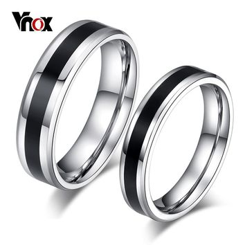 Vnox Classic Wedding Rings for Women Men Stainless Steel Couple Jewelry Promise Band Alliance Bijoux