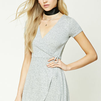Marled Knit Faux Wrap Dress
