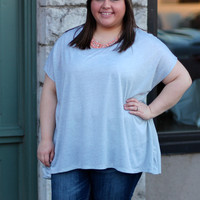 Touch of Lace Tee in Oatmeal {Curvy}