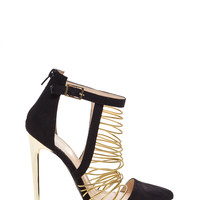 Strike A Cord Caged Metallic Heels