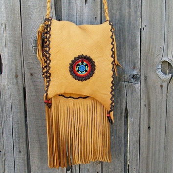 Fringed leather handbag  Beaded turtle totem  by thunderrose