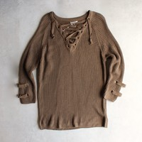lace up grommet sweater - olive
