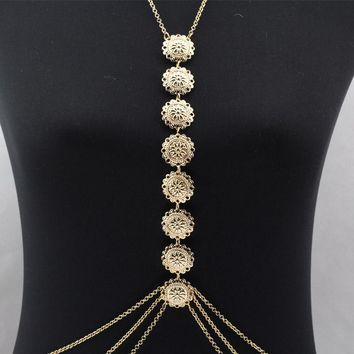 boho Coin necklace Women Gypsy Beach chain necklace Harness Necklace for Women  Collier bijoux