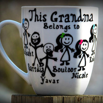 Stick Figure Adults coffee mug for Mom, grandma, Nana or any title. Special Stick figure Bearded man, Stick Figure Goatee man, Customizable