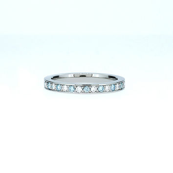 Size 5, Blue and white diamond wedding band, palladium ring, blue trinity band, thin wedding ring, light blue wedding, unique, diamond ring