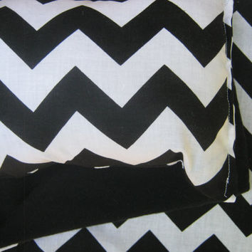 American Girl Doll Bedding, black and white chevron blanket and pillow for 18 inch doll