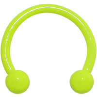 "18 Gauge 3/8"" Neon Yellow Horseshoe Circular Barbell 3mm 