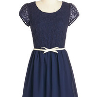 Mid-length Cap Sleeves A-line Subtly Sweet Dress in Navy