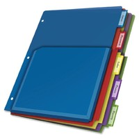 Cardinal Expanding Pocket Poly Divider, 5-Tab, Multi-Color (84012CB)