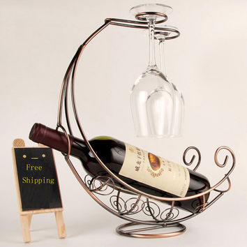 Creative Fashion Metal Wine Rack Hanging Wine Glass Holder Pirate Ship Shape Bar Wine Holder 3 Colors Hot Selling