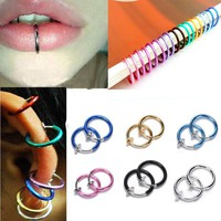 New 2pcs Fake Stud Earrings Nose Lip Rings Hoop Ear Punk Clip On Piercing Body # Day-First™