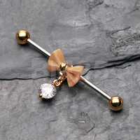 Golden Adorable Mesh Bow-Tie Industrial Barbell