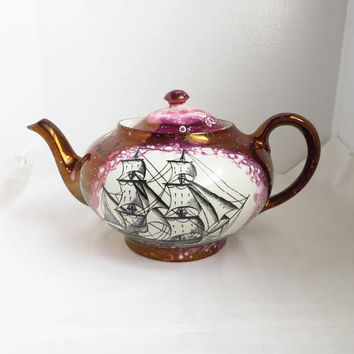 Vintage Gray's Pottery Teapot, Hand Painted Purple Gold Luster Clipper Ship British Tea Pot