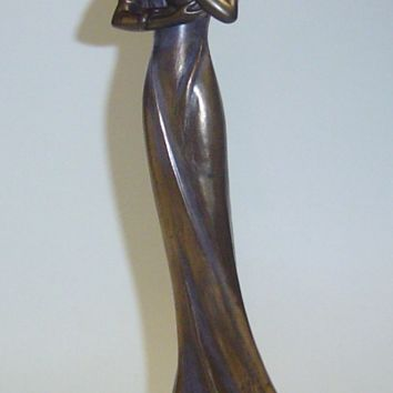 Veronese Bronze Figurine Statue Lady with Cat Art Deco
