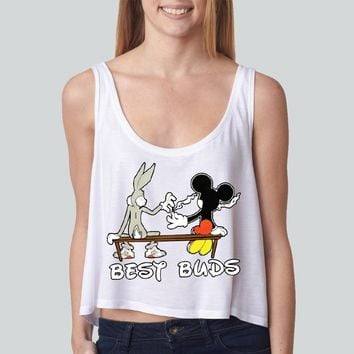 Mickey Smoking A Blunt girly boxy tank top Funny and Music