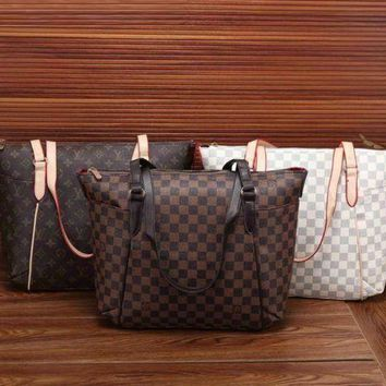 NOV9O2 Louis Vuitton Women Leather Zipper Satchel Tote Travel Bag Handbag-1