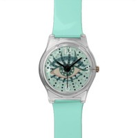 Beautiful Abstract Dotted Blue Eye Watches